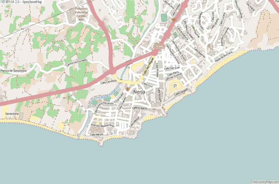 Map Of Spain Detailed.Nerja Map Spain Latitude Longitude Free Maps