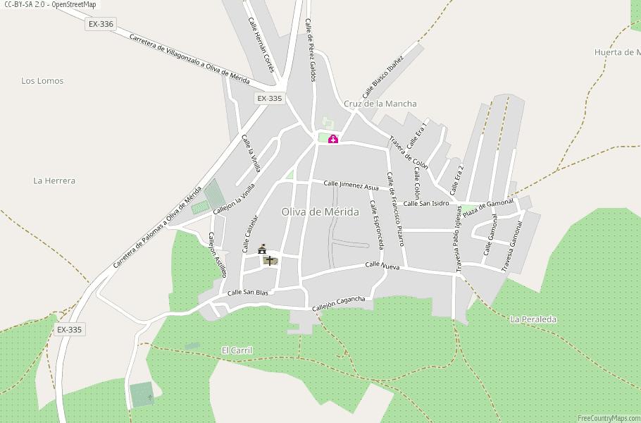 Oliva De Merida Map Spain Latitude Longitude Free Maps