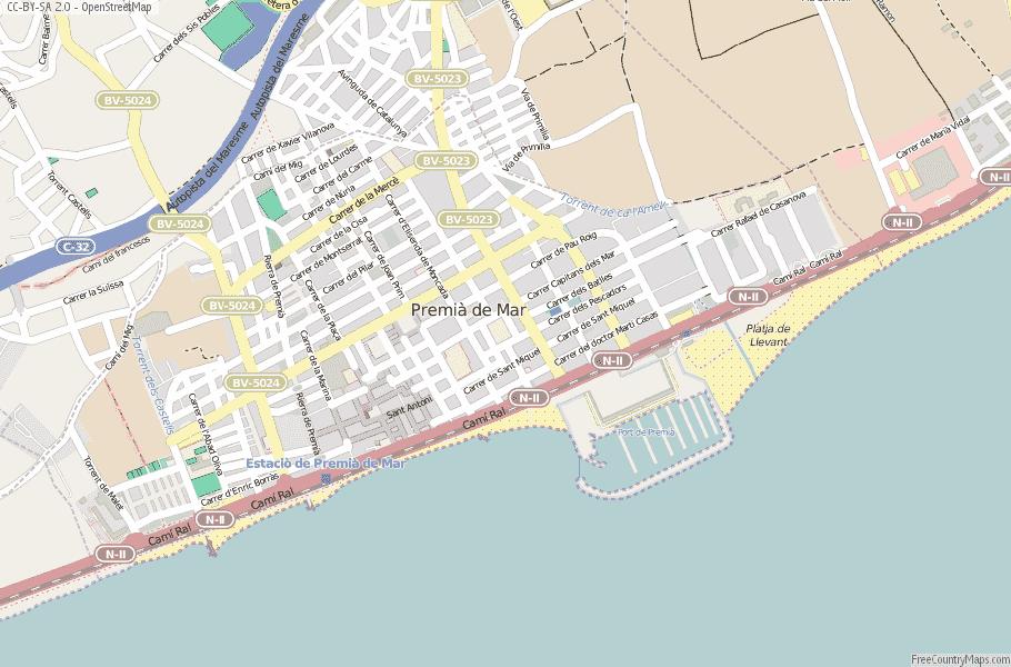 Premià de Mar Spain Map
