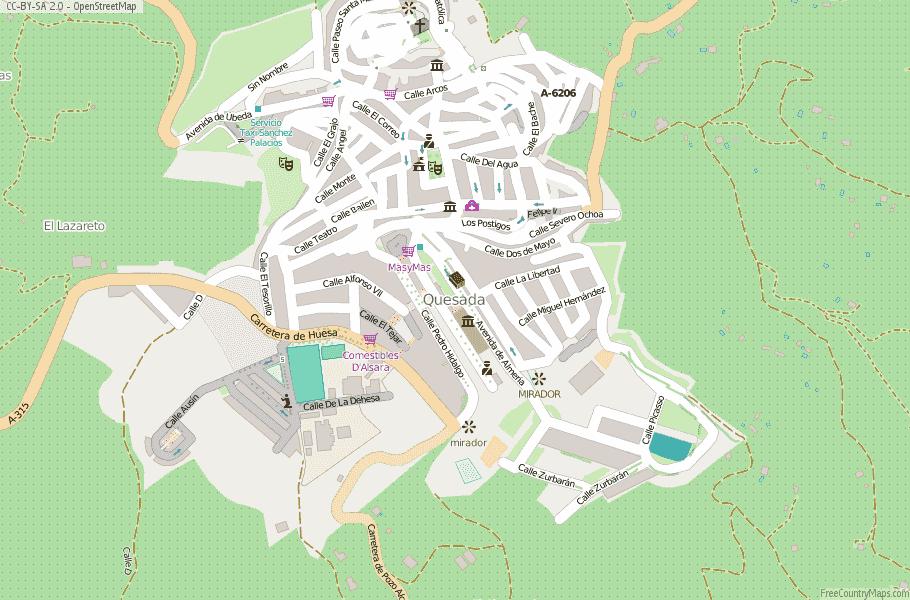 Street Map Of Quesada Spain.Quesada Map Spain Latitude Longitude Free Maps