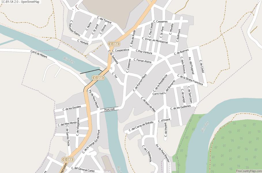 Roda De Ter Map Spain Latitude Longitude Free Maps