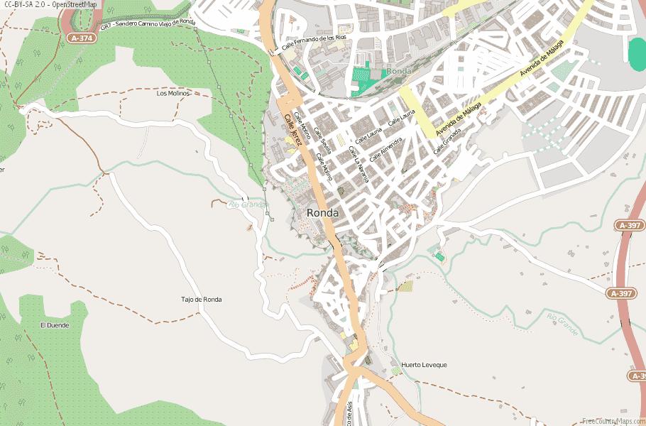 Ronda Map Spain Latitude Longitude Free Maps