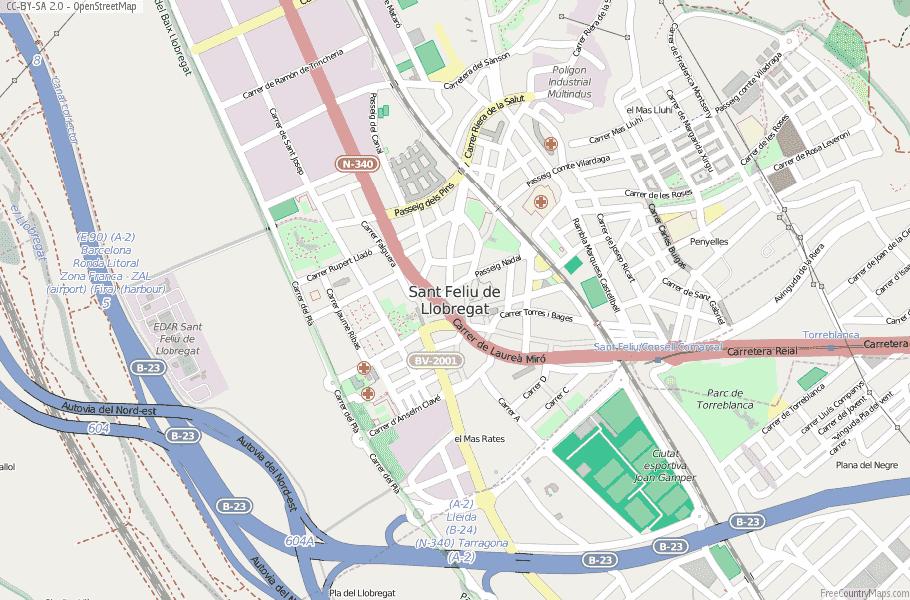 Sant Feliu de Llobregat Spain Map