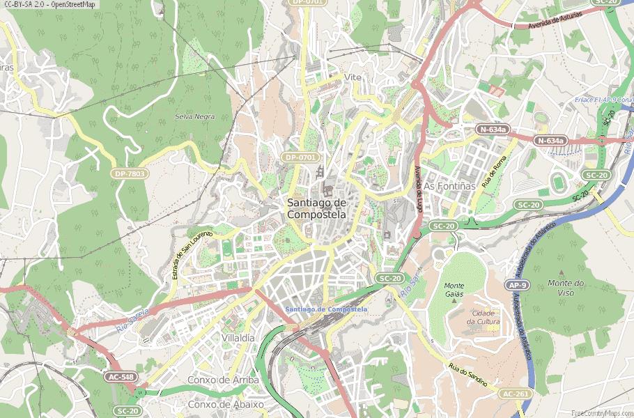 Map santiago de compostela Camino Routes