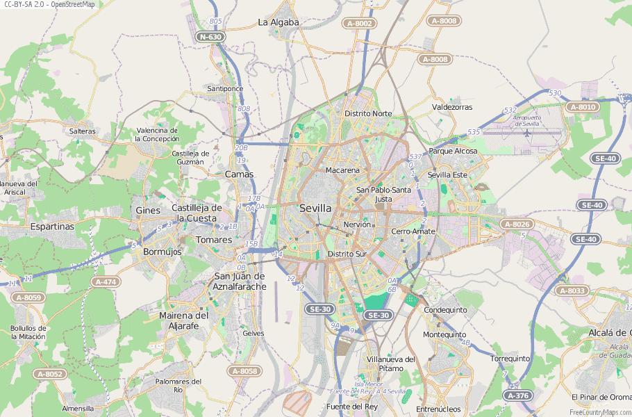 Sevilla Map Spain Latitude & Longitude: Free Maps