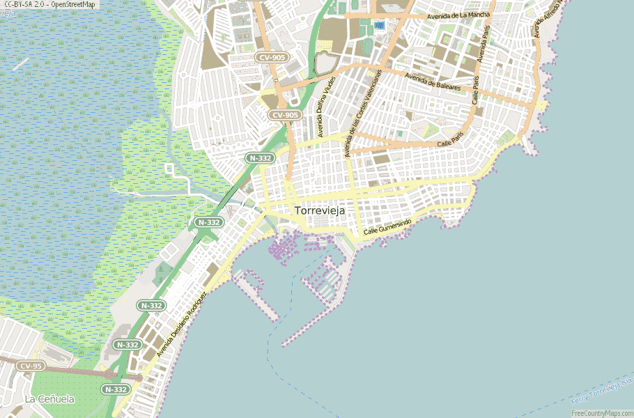 Torrevieja Map Spain Latitude Longitude Free Maps