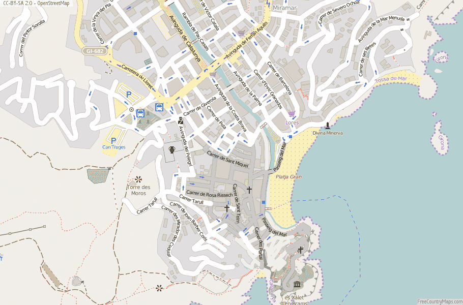 Tossa de Mar Map Spain Latitude & Longitude: Free Maps