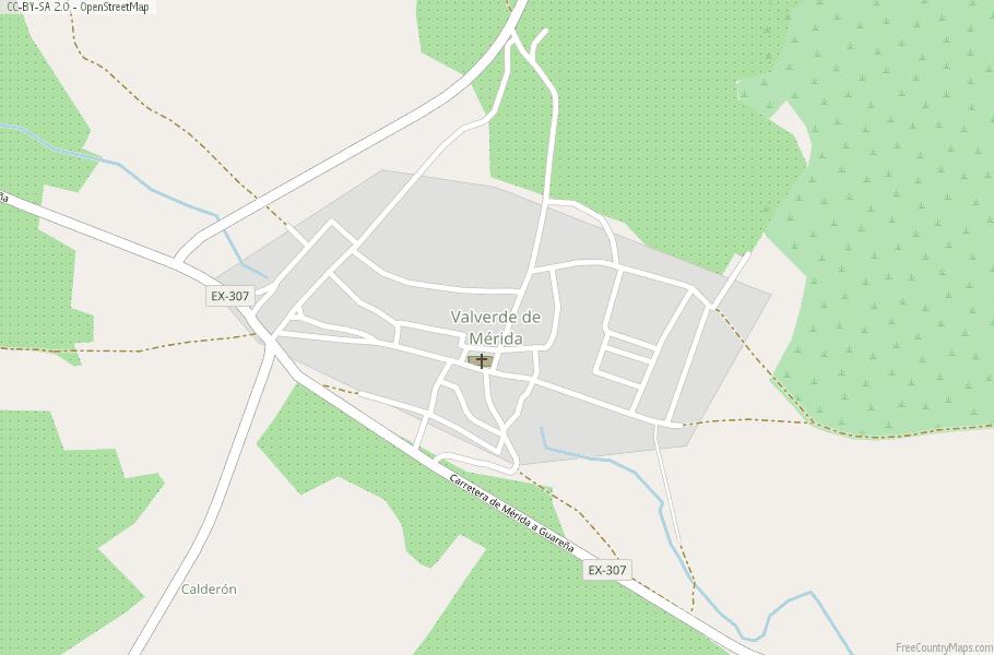 Valverde De Merida Map Spain Latitude Longitude Free Maps