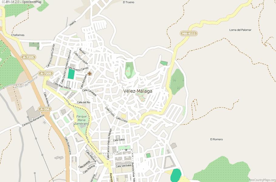 Map Of Spain Showing Malaga.Velez Malaga Map Spain Latitude Longitude Free Maps