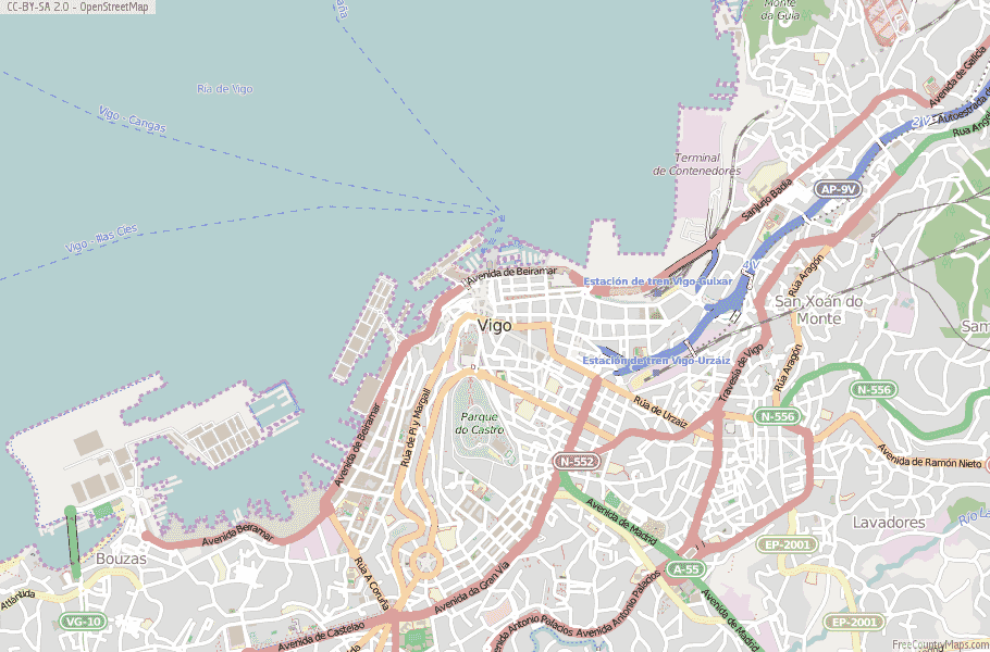 Map Of Spain Vigo.Vigo Map Spain Latitude Longitude Free Maps