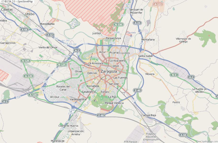 Zaragoza Map Spain Laude & Longitude: Free Maps on