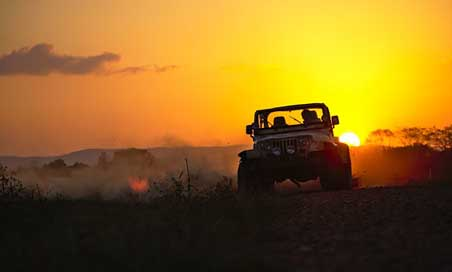 Jeep Sunset Dust Drifting