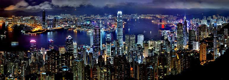 Hong-Kong Architecture-Asia Night Skyline
