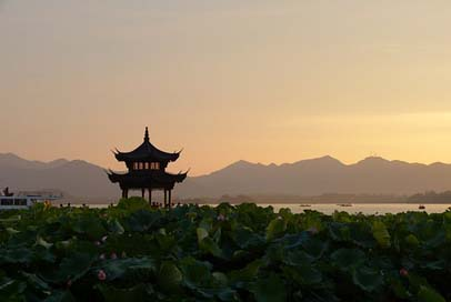 Sunset Lotus-Flowers Pagoda China