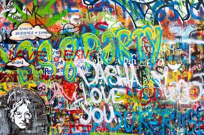 Graffiti Prague Wall John-Lennon-Wall