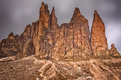 Three-Zinnen Mountains Landscape Dolomites Picture