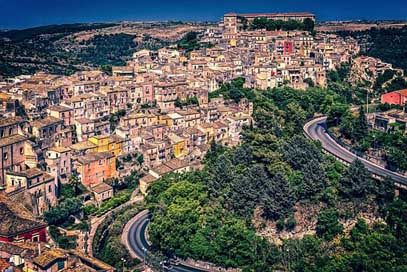 Houses Downtown Sicily City Picture