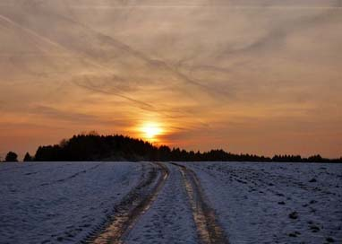 Sunset Frozen Snow Road