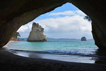 Cathedral-Cove Ocean Sea New-Zealand